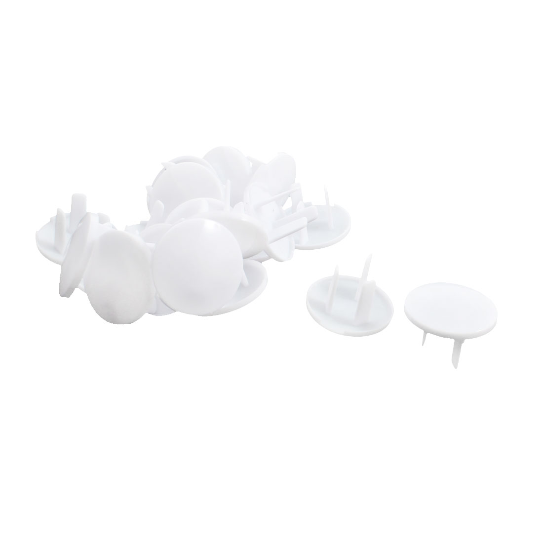 20Pcs White Plastic 3 Terminal Flat Plugs Protector Safety Socket Cover