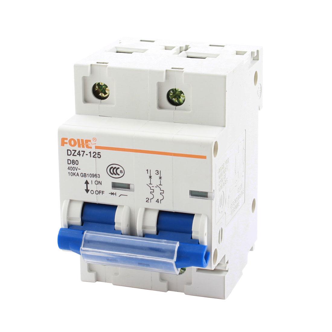 10KA Breaking Capacity 2 Pole Overload Miniature Circuit Breaker AC400V 100Amp DZ47-125