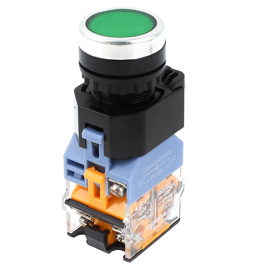 LA38/203 Green LED Indicator Lamp DPST NO+NC Momentary Push Button Switch Ui 400V Ith 10A