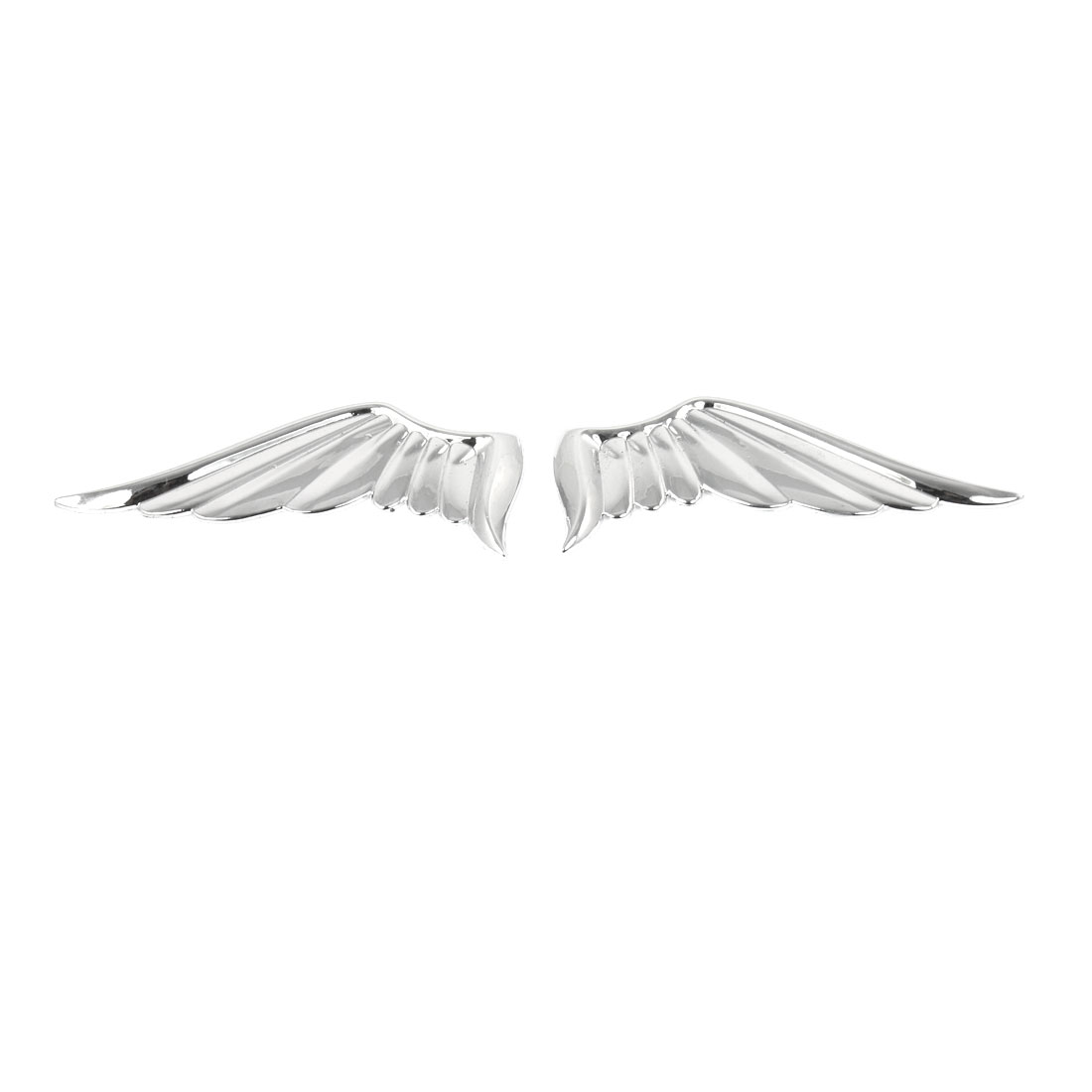Pair Silver Tone Metal Wings Style Decorative Sticker Decal for Car