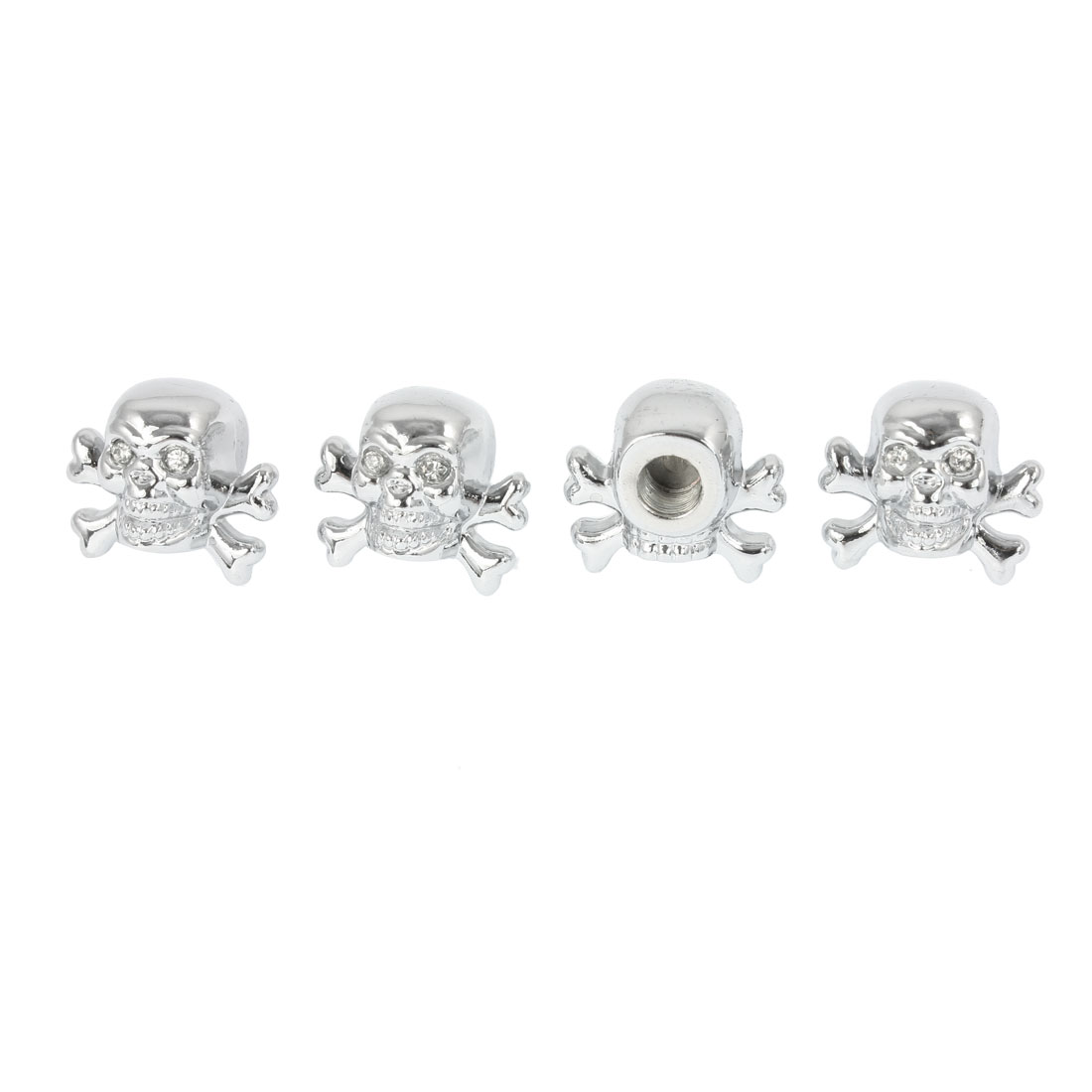 4 Pcs Silver Tone Rhinestones Eyes Skull Shape Auto Car Tire Valve Dust Cap Cover