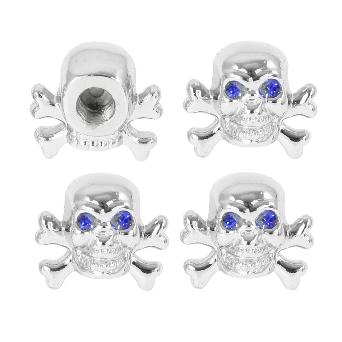 4 Pcs Blue Eyes Skull Car Auto Tyre Valve Dust Caps Stem Covers Silver Tone