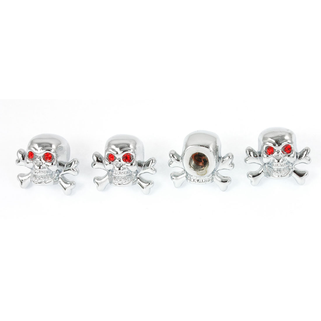 4 Pcs Red Rhinestones Eyes Skull Shape Metal Auto Tire Valve Dust Cap Cover Silver Tone