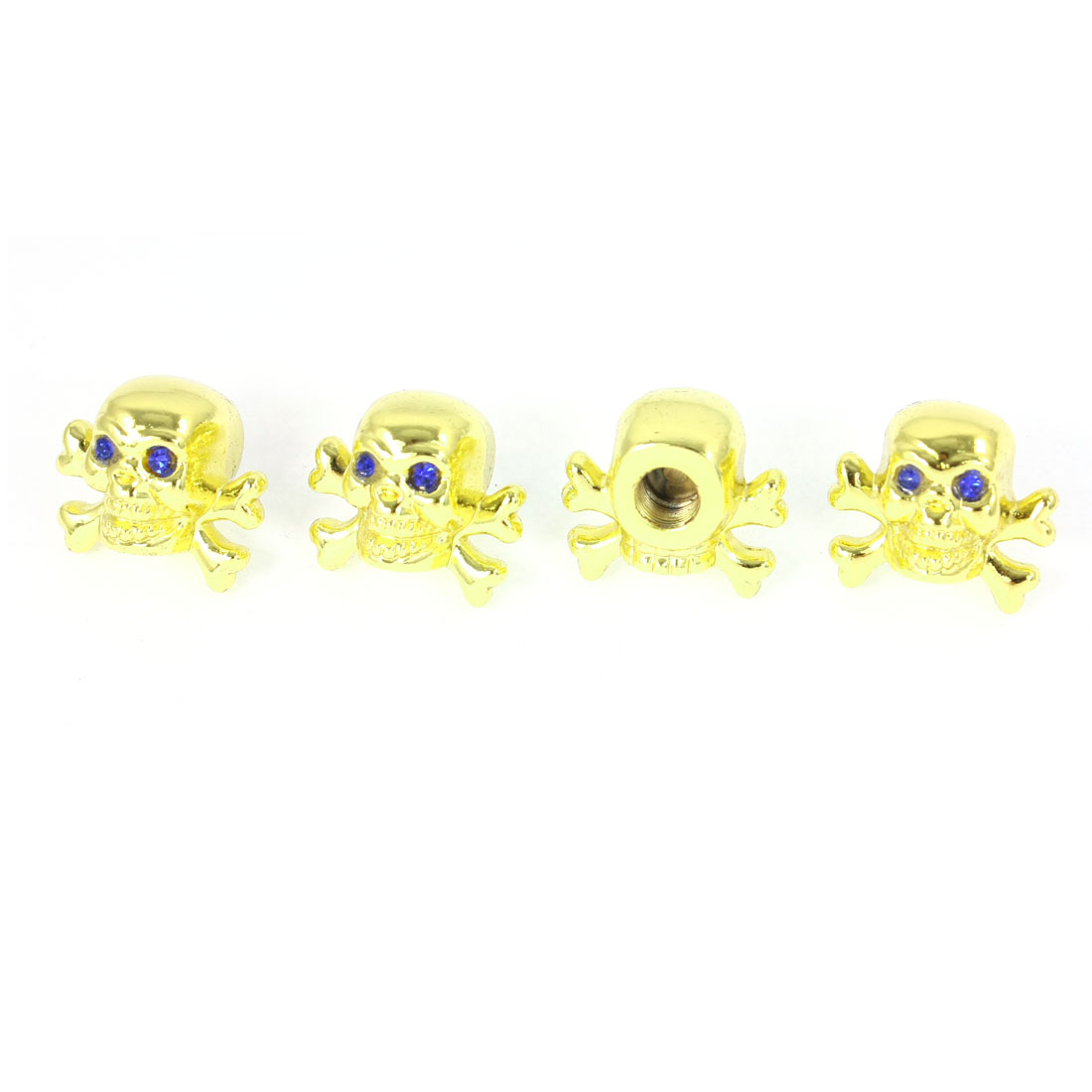 4 Pcs Blue Rhinestones Decor Gold Tone Skull Shape Vehicles Tyre Valve Stem Caps