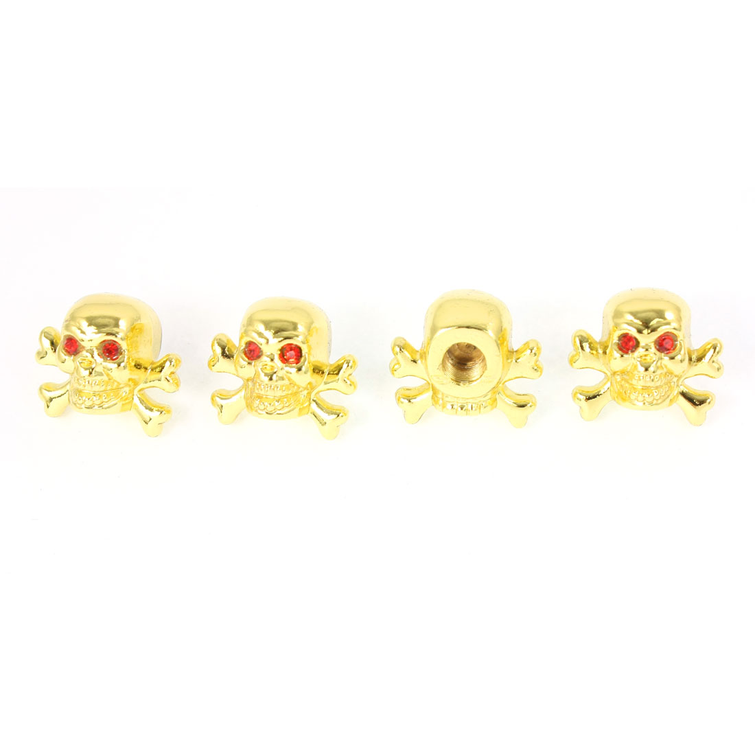 4 Pcs Red Rhinestones Eyes Skull Shape Metal Car Tire Valve Cover Gold Tone