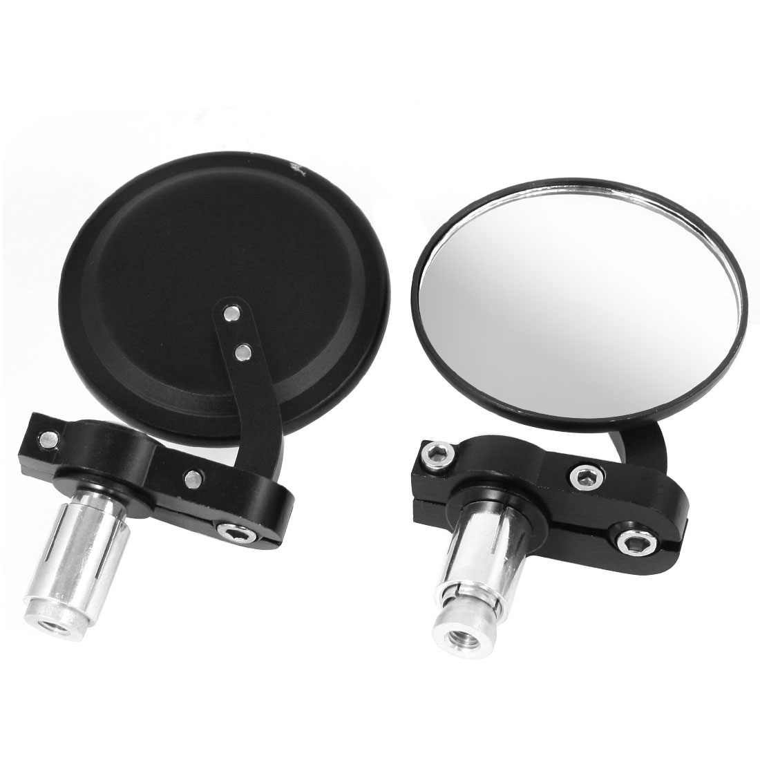 Pair Black Metal Round Shell Motorcycle Handlebar End Rear View Side Mirror