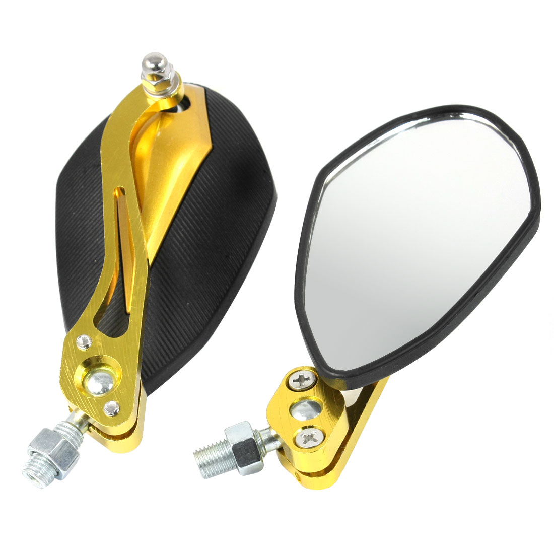 2 Pcs Black Gold Tone Motorbike 360 Degree Wide Angle Blind Spot Rearview Mirror