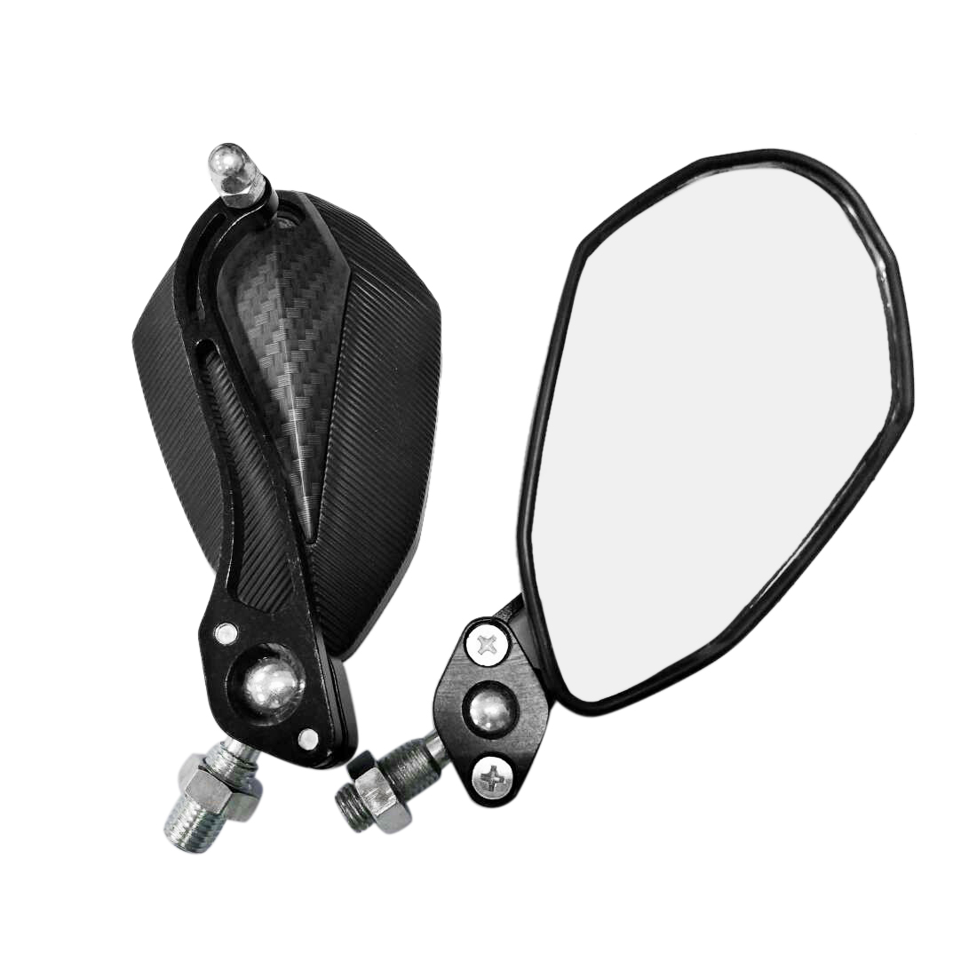 2 Pcs Carbon Fiber Pattern Shell Wide Angle Blind Spot Rearview Mirror for Motorcycle