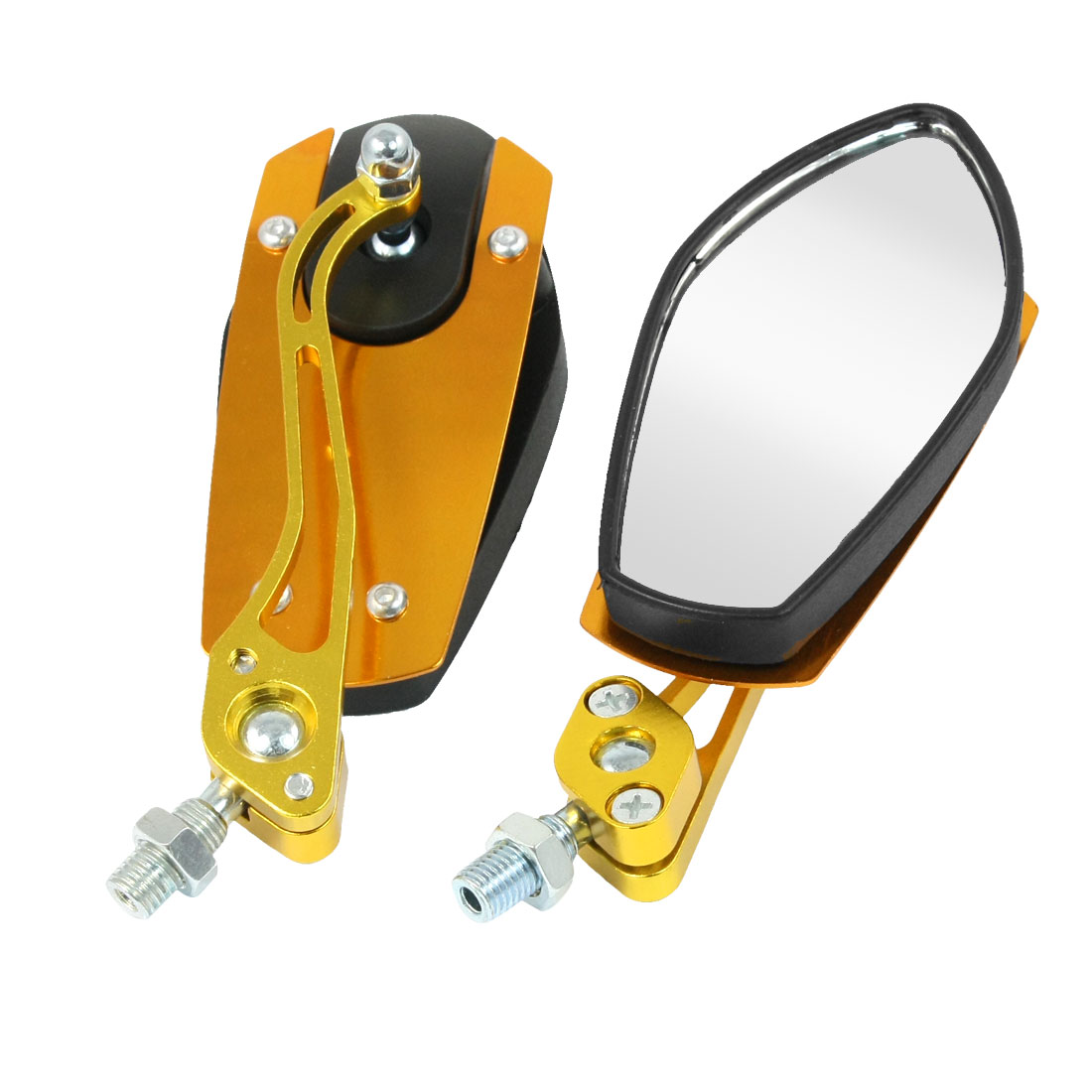 2 Pcs Gold Tone Black Shell Rearview Blind Spot Mirrors for Motorbike