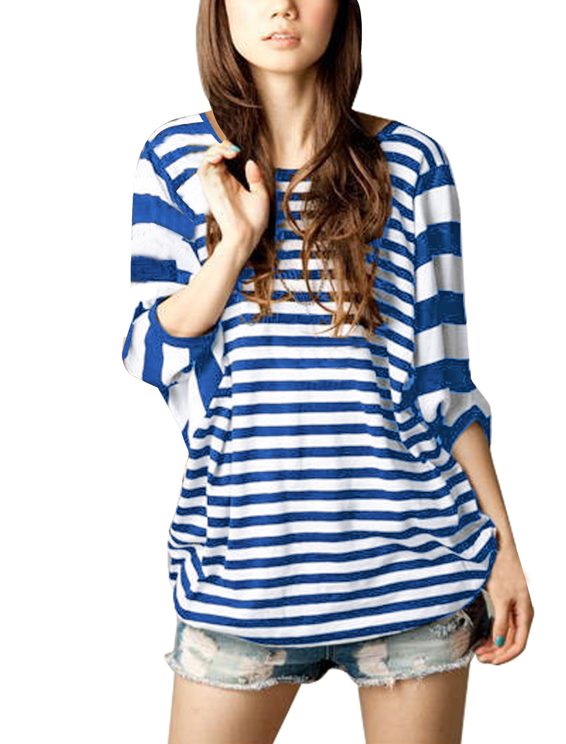 Ladies Pullover Stripes Stretchy Hem Blue White Shirt 1X