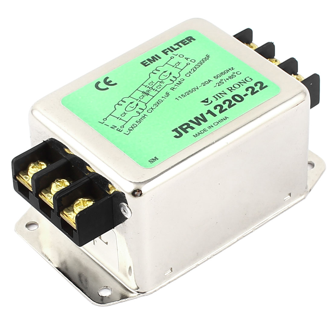 AC 115V/250Volt 20A Rated Current Metal Housing Power Line EMI Filter