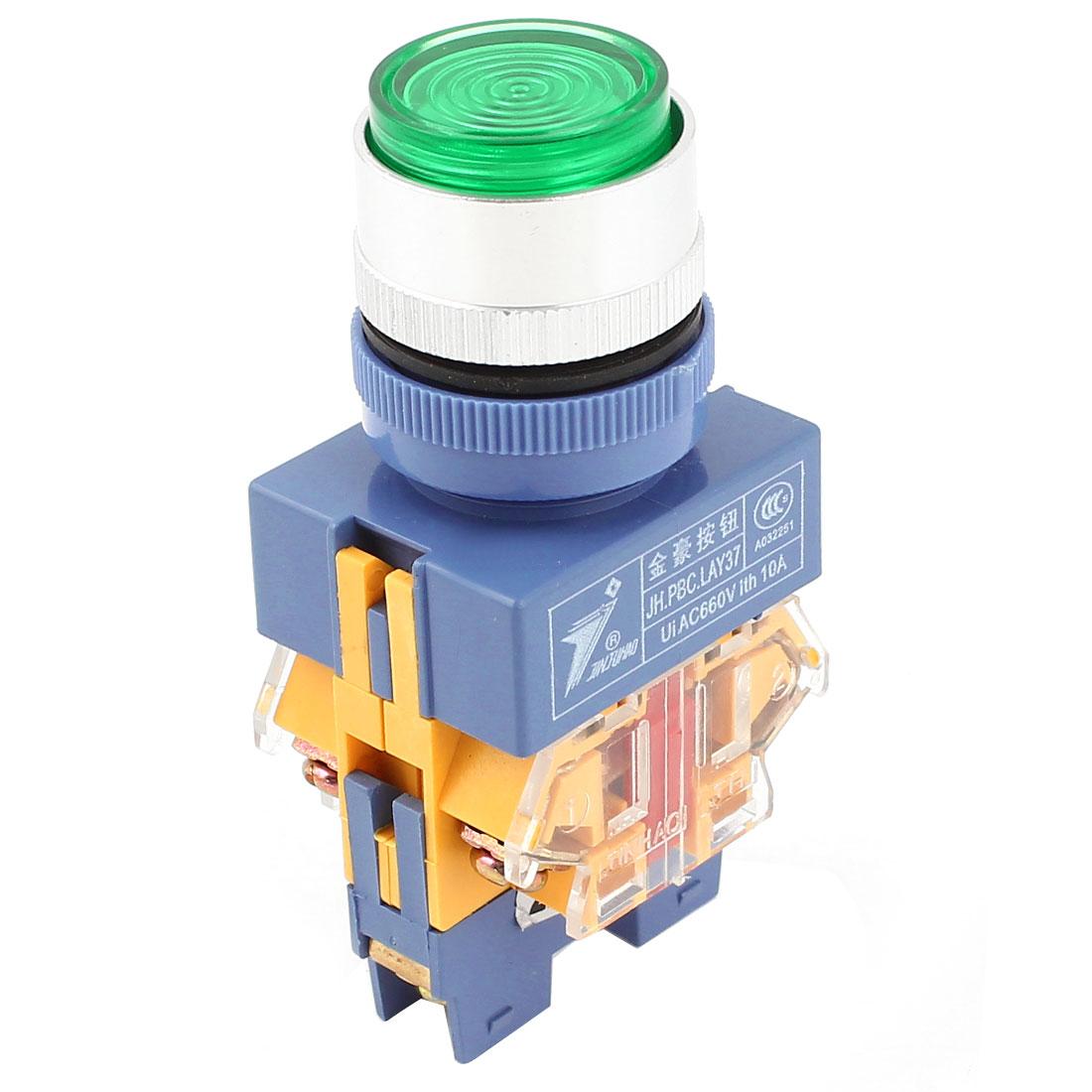 Green Pilot Lamp 1NC 1NO 6-Terminal Ui AC 600V Ith 10A Pushbutton Switch AC 220V