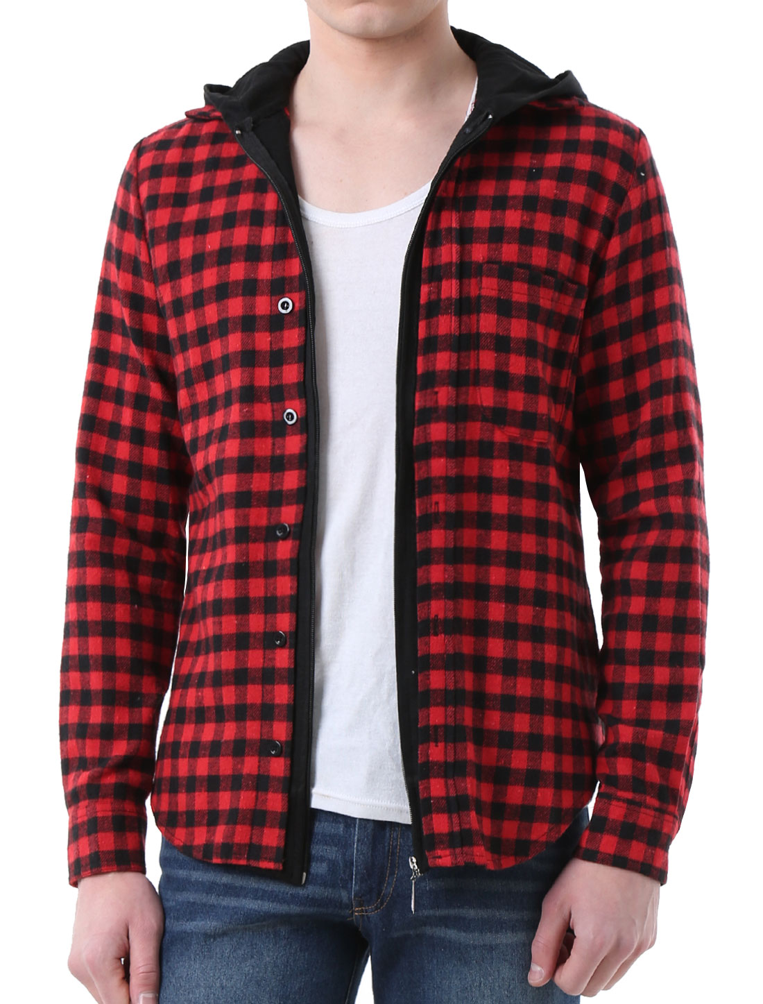 Men Leisure Contrast Check Pattern Round Hem Hooded Shirt Black Red L