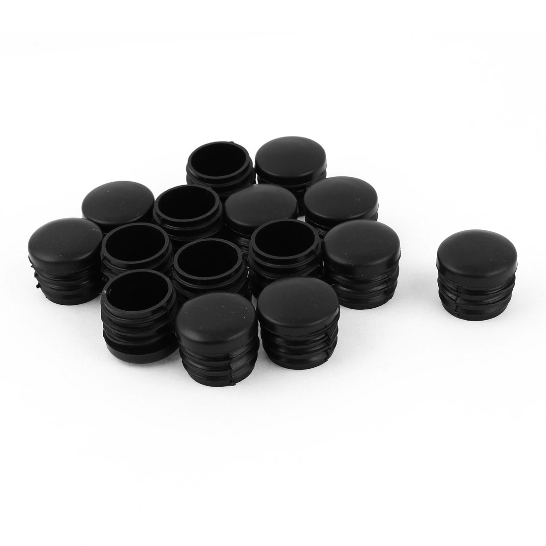 "15 Pcs 25mm 1"" Diameter Black Plastic Blanking End Cap Round Tubing Tube Insert"