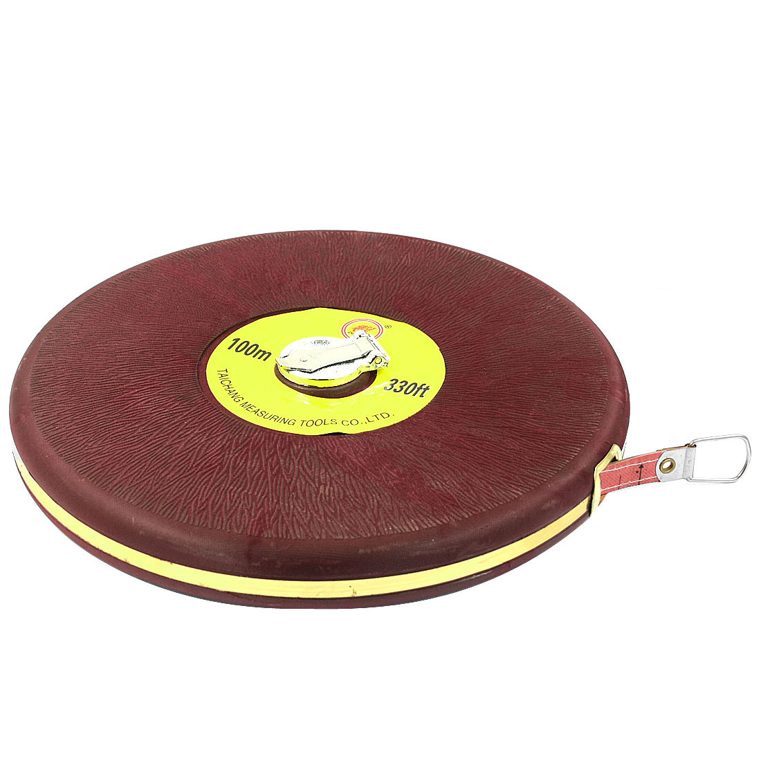 Engineer Burgundy Round Shaped 100M Range Reel Measuring Tape