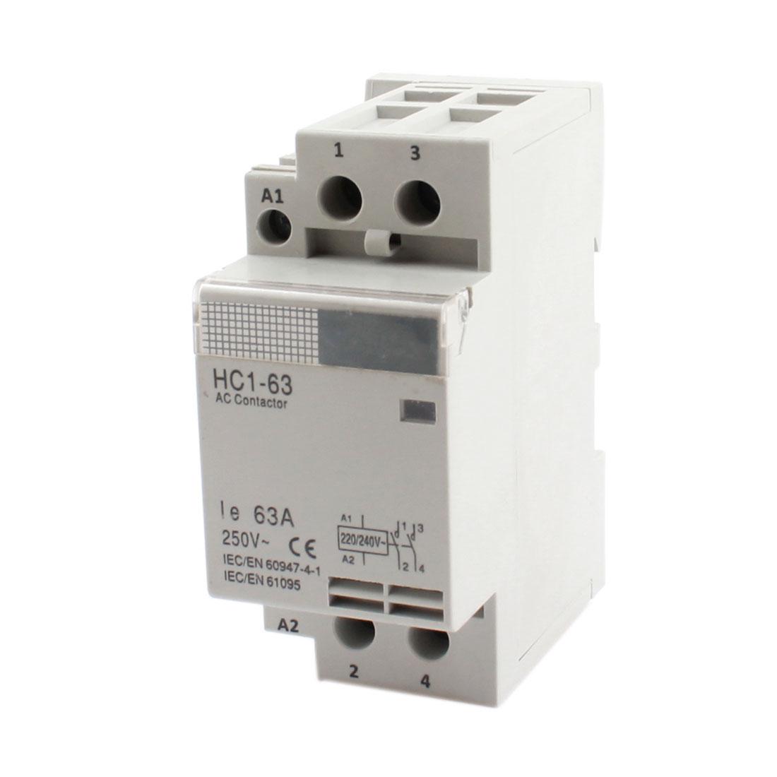 220/240V 63A 35mm DIN Rail Mount 2 Pole Definite Purpose AC Contactor