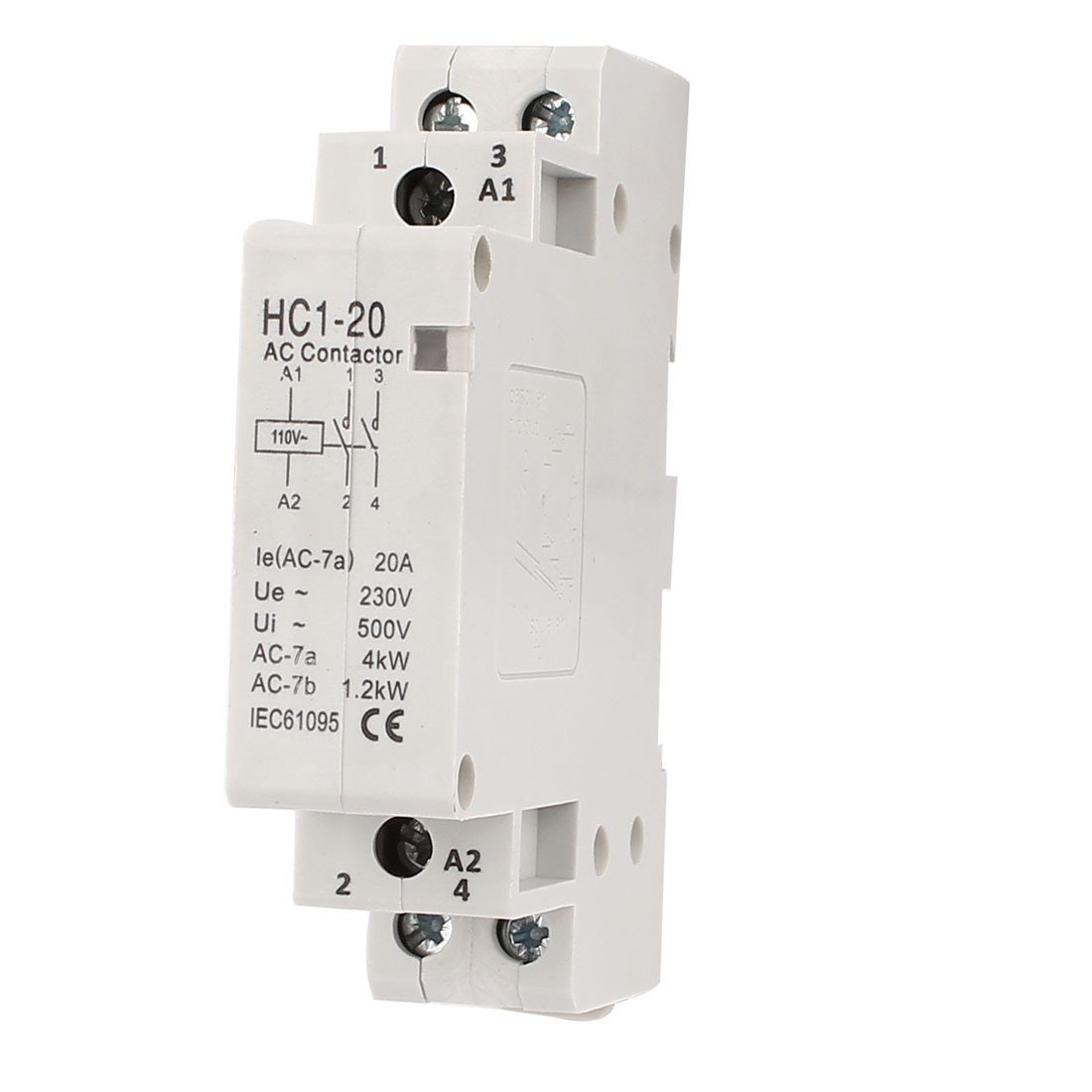 110V 20A 35mm DIN Rail Mount 2 Pole Definite Purpose AC Contactor