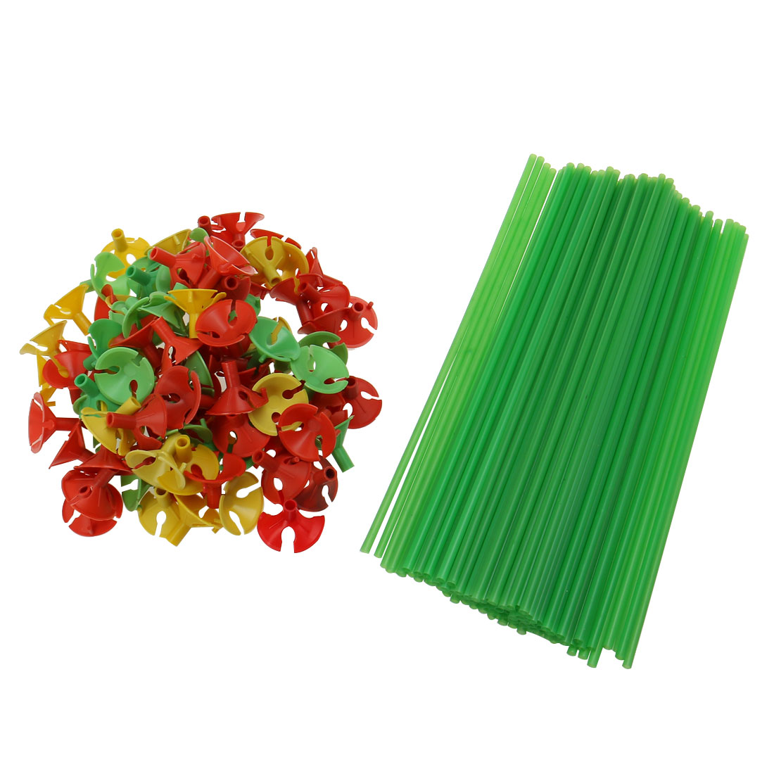 100 Pcs Party Festival Decoration Plastic Green Balloon Sticks w Cups Red
