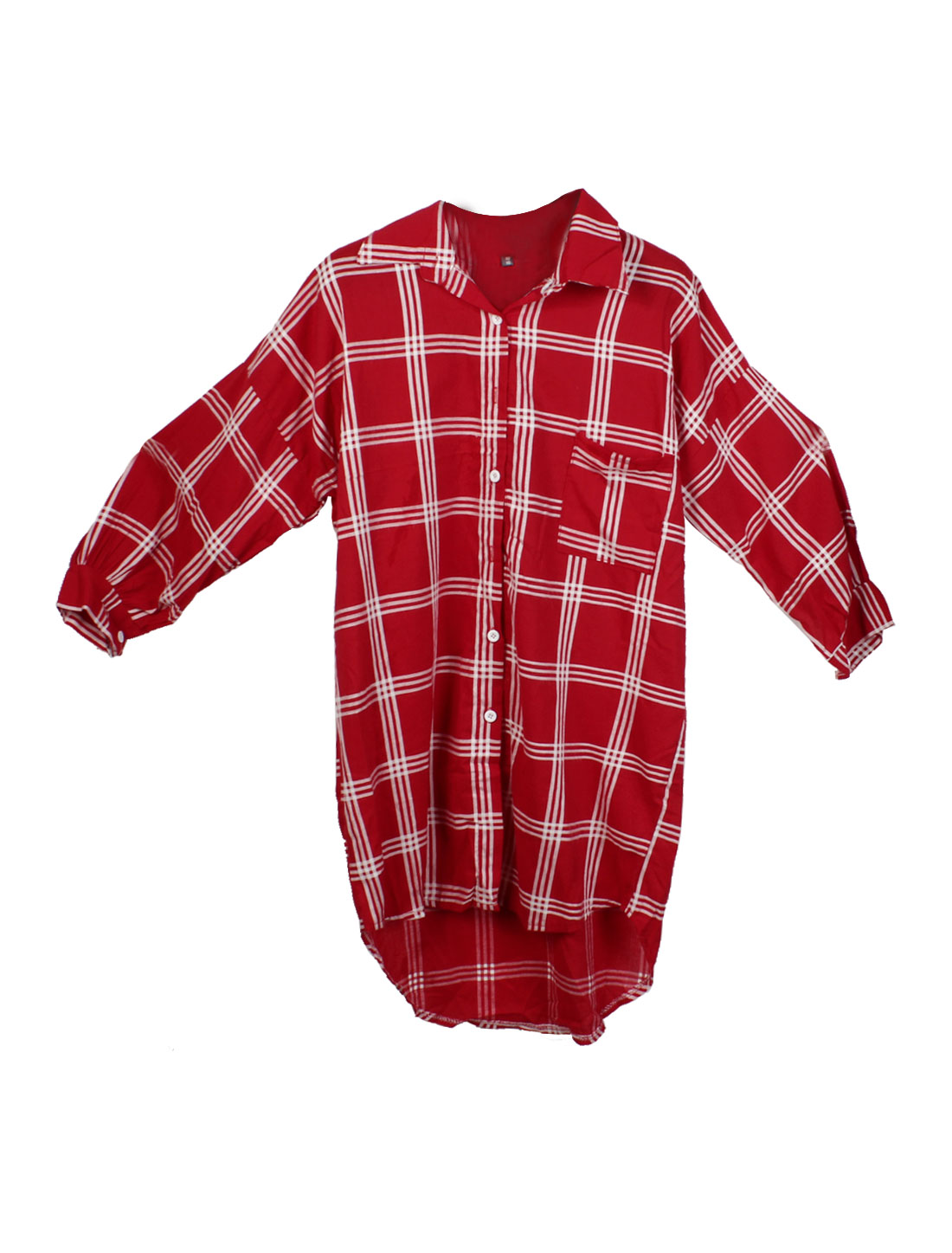 Lady Plaids Pattern Single Breasted Cozy Fit Casual Tunic Shirt Red White XS