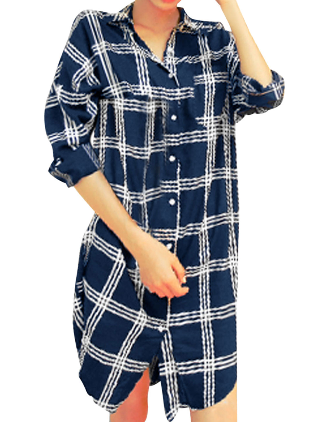 Lady Plaids Pattern One Pocket Chest Tunic Shirt Navy Blue White XS