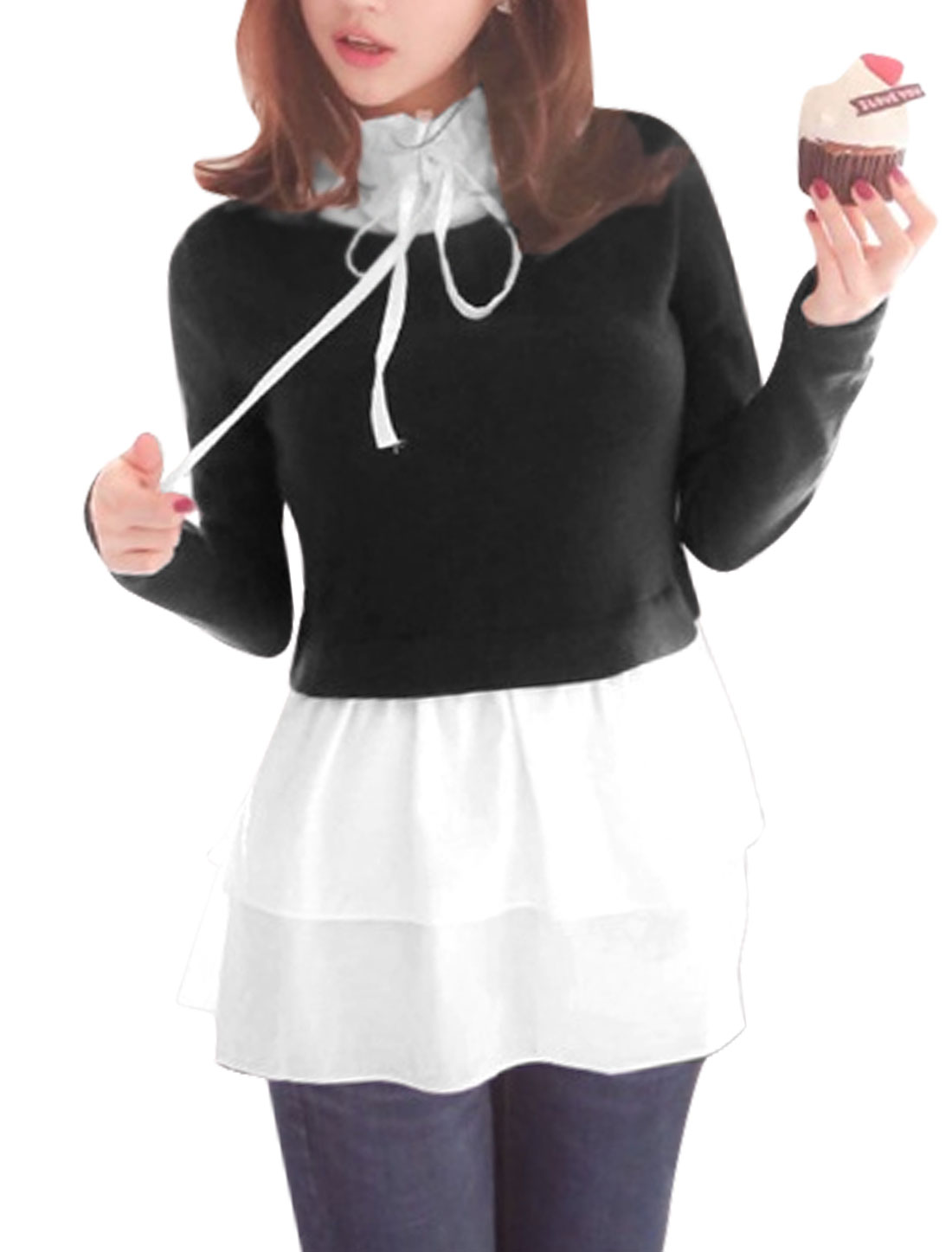 Ladies Black White Long Sleeves Drawstring Stand Collar Splice Shirt XS