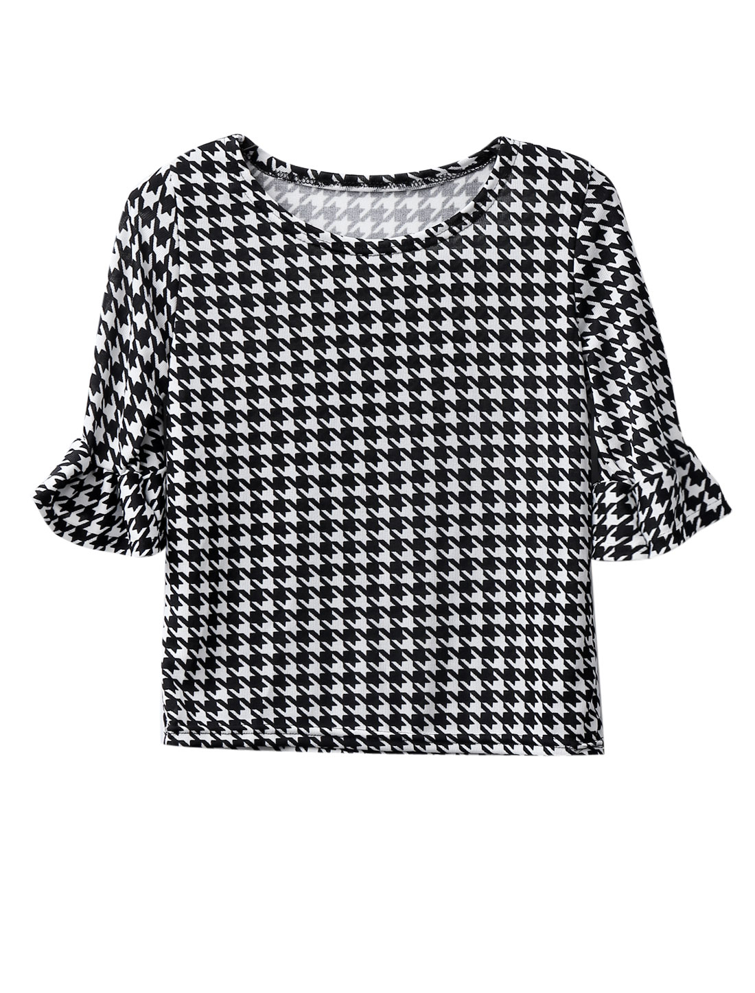 Lady Pullover Round Neck Houndstooth Pattern Soft Casual Top Black White XS