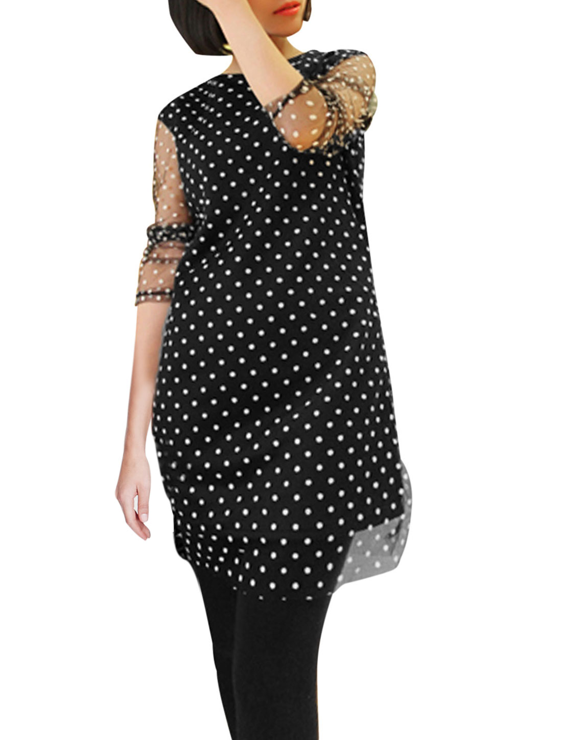 Lady Round Neck Dots Pattern Cozy Fit Mesh Tunic Top Black XS