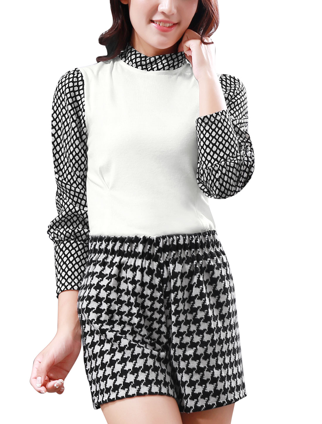 Lady Plaids Stand Collar Long Sleeve Casual T-Shirt Black White S
