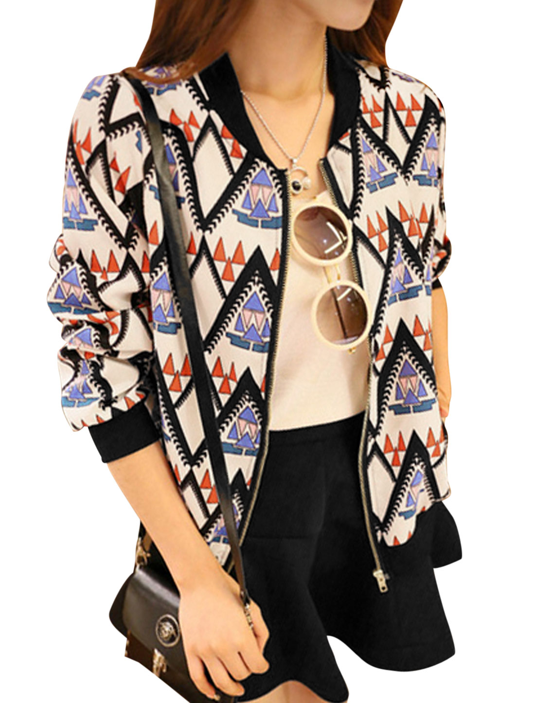 Lady Stand Collar Long Sleeve Geometric Prints Leisure Jacket Multi Color XS