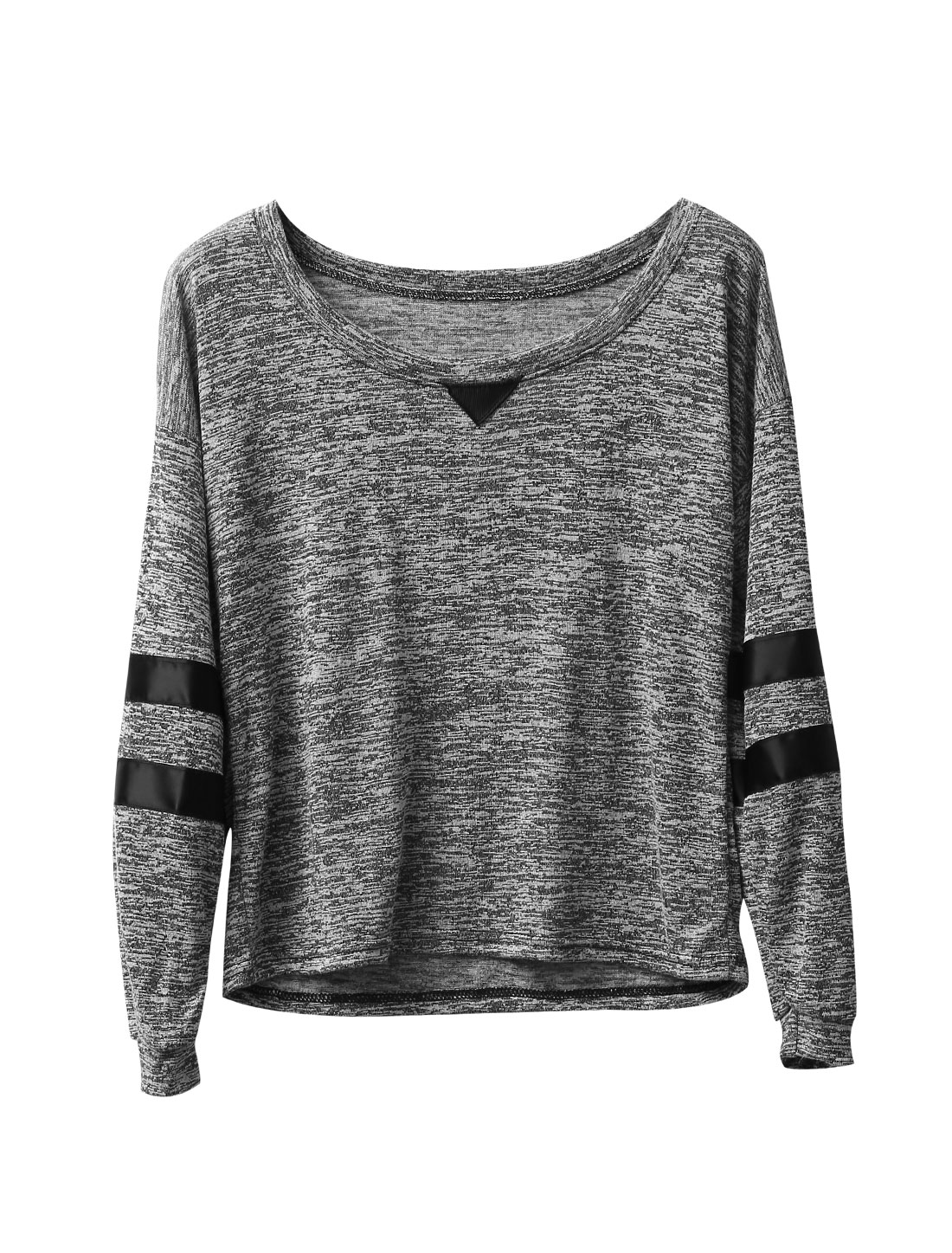 Women Round Neck Long Sleeve Spliced Detail Space-Dyed Knit Shirt Light Gray XS