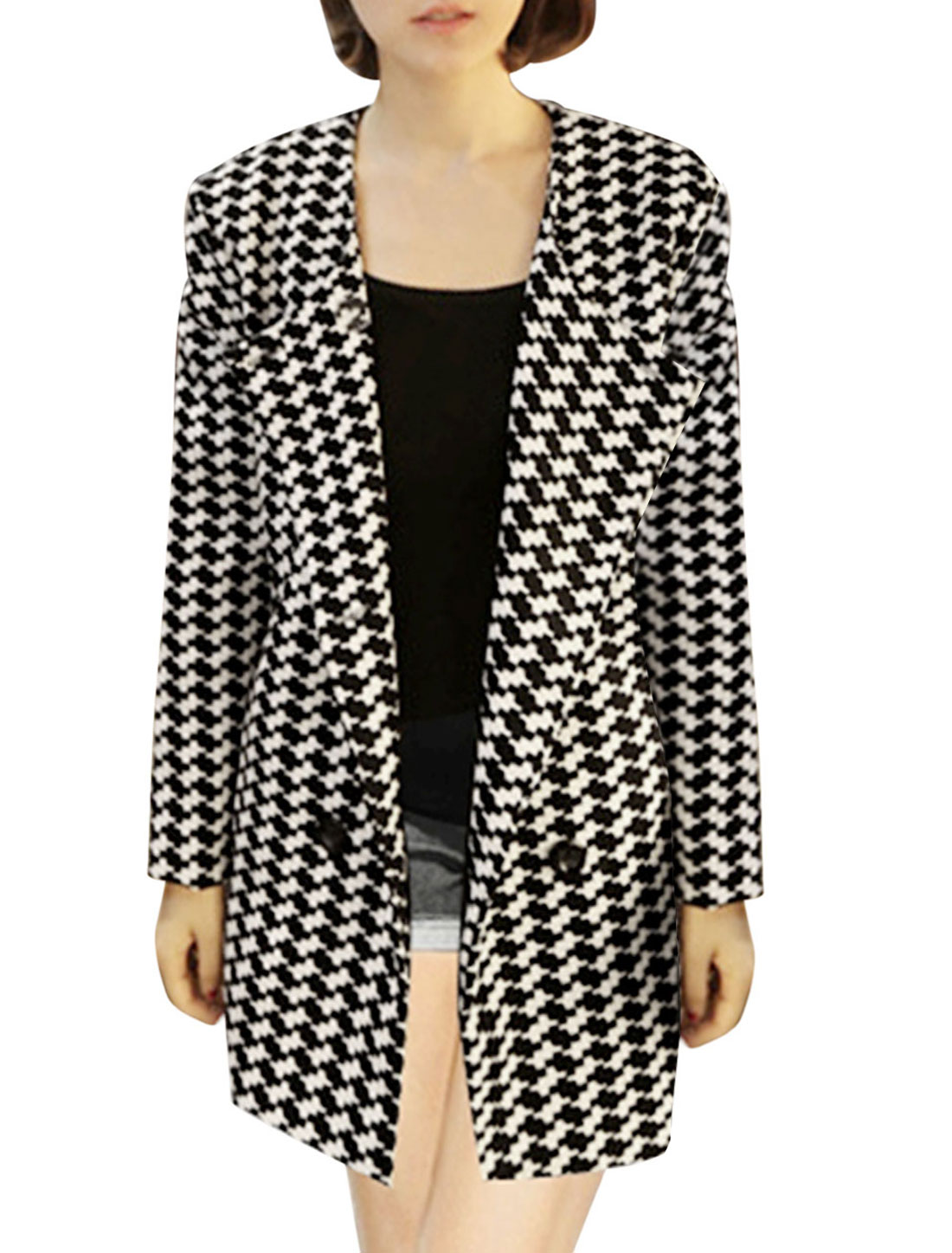 Lady Houndstooth Pattern Double Breasted Casual Trench Jacket Black White S