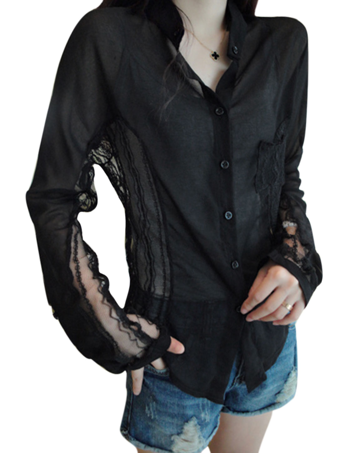 Women Single Breasted Lace Panel One Bust Pocket Casual Shirt Black XS