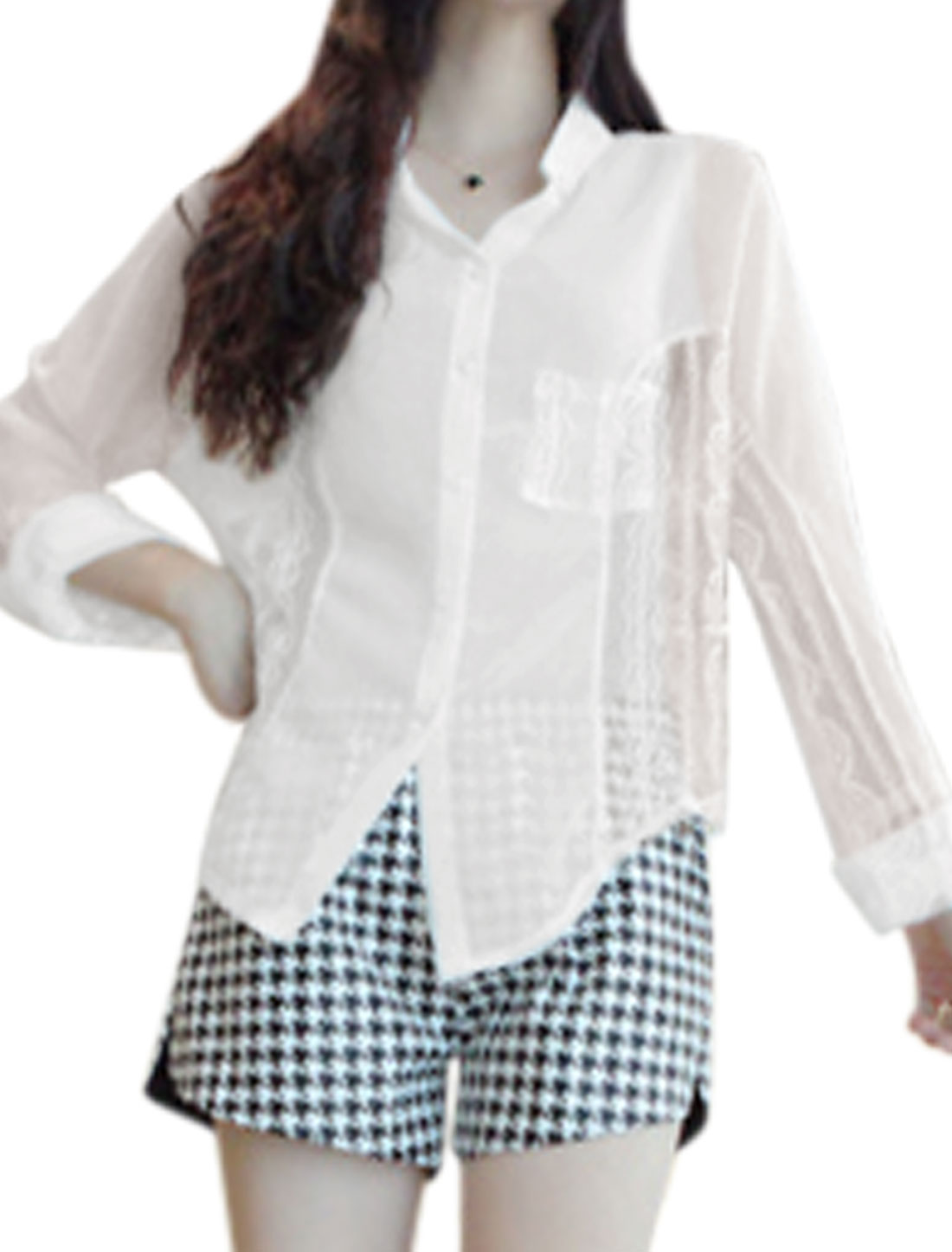 Casual Fashion Lace Panel Shirt for Lady White XS