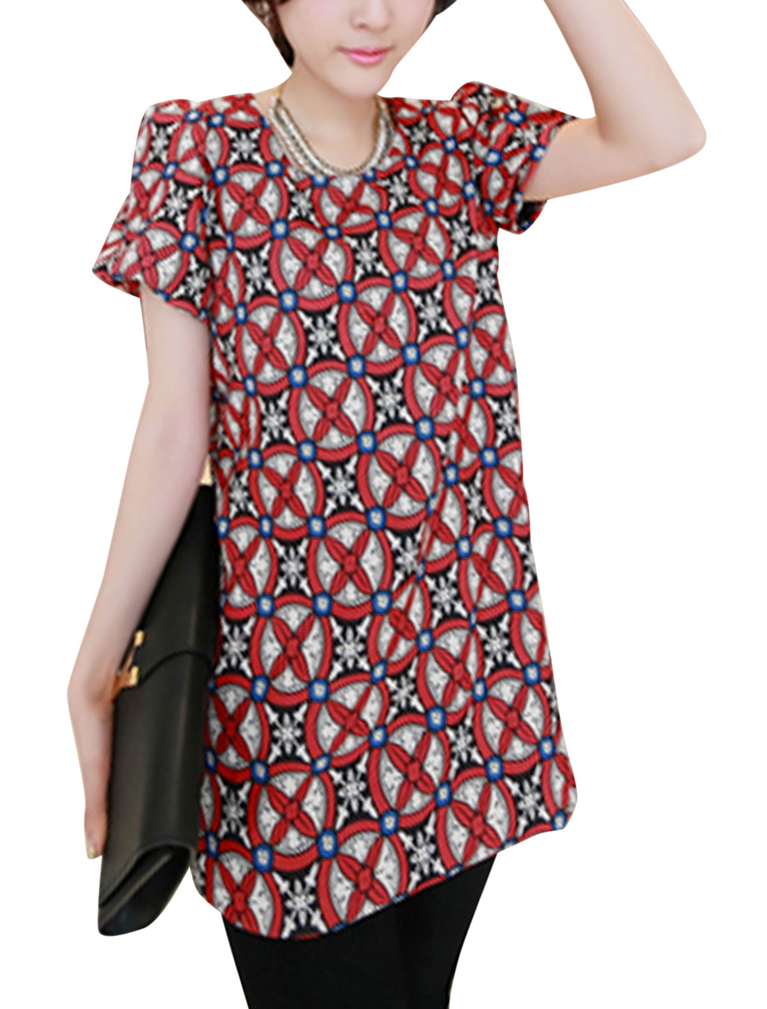 Lady Round Neck Geometric Prints Pullover Tunic Blouse Red XS