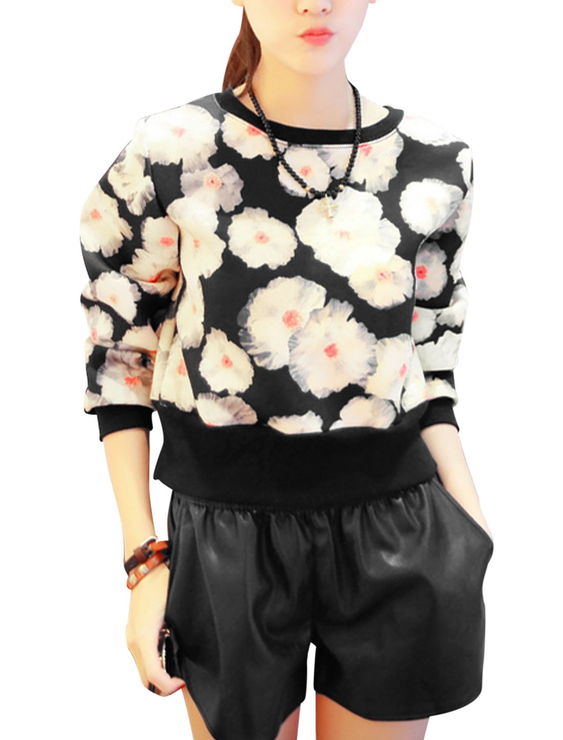 Lady Slipover Floral Pattern Long Sleeve Leisure Top Black XS