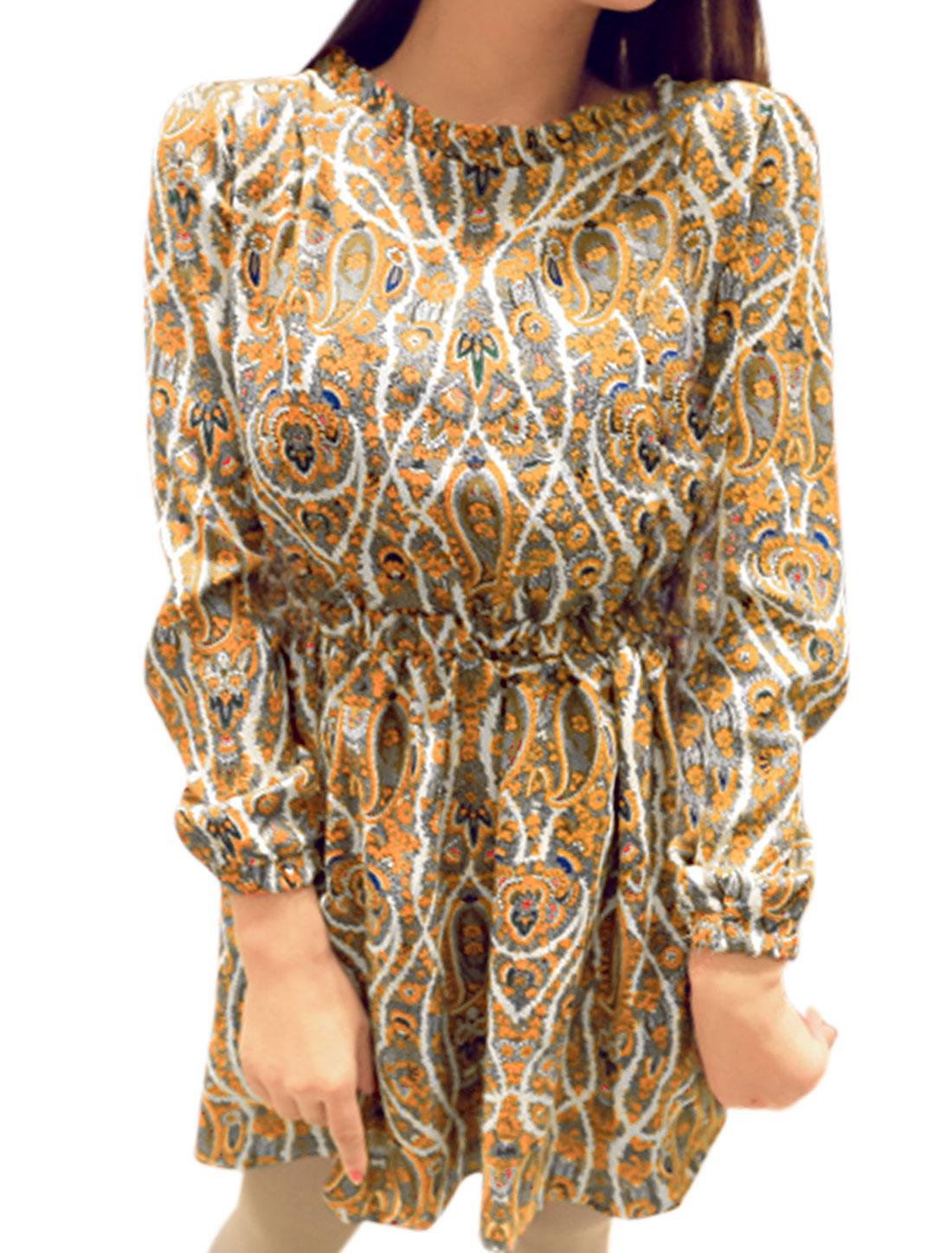 Women Elastic Waist w Cuffs Paisleys Print Floral Print Dress Orange XS