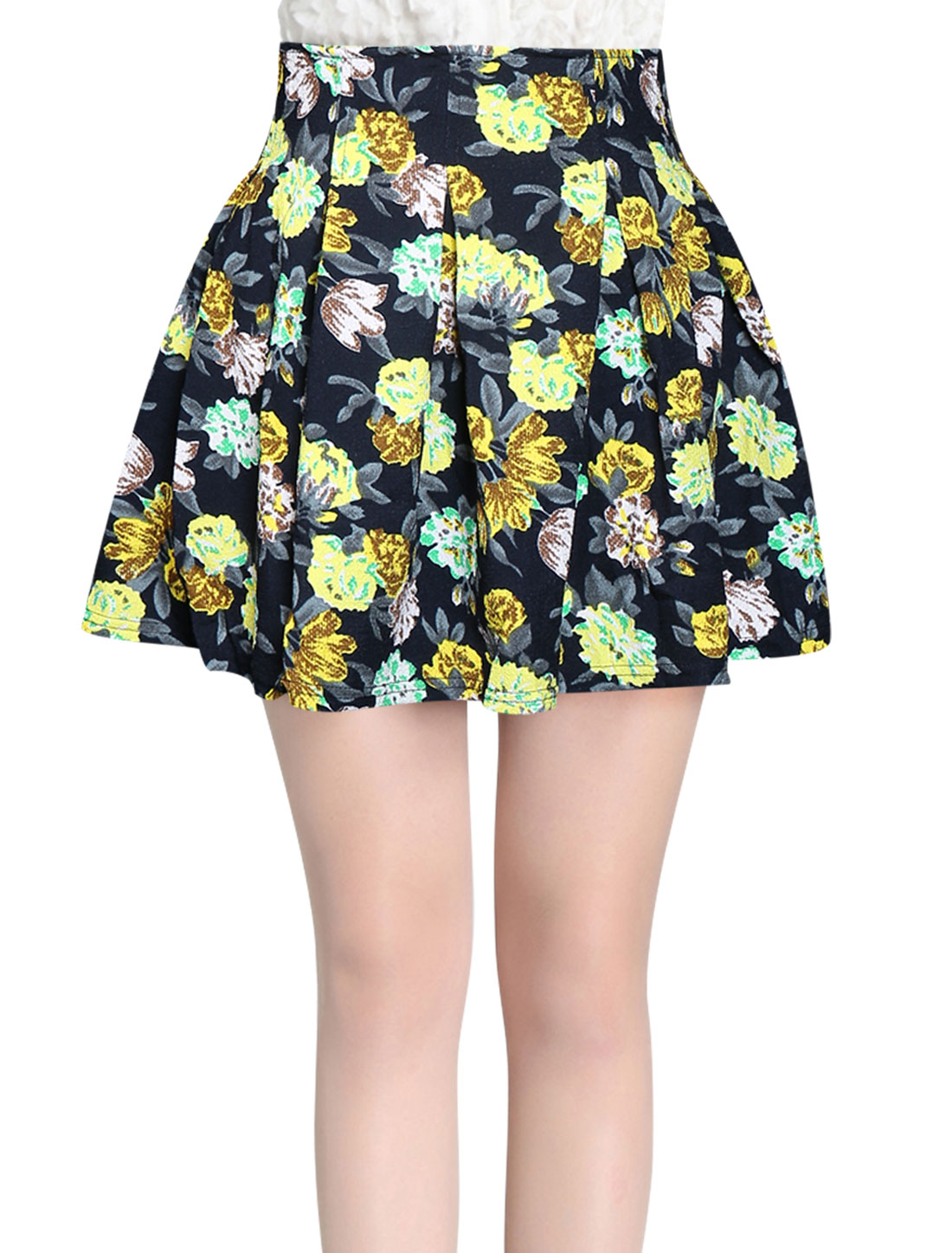 Ladies Yellow Hidden Zippered Back Floral Prints Mini Skirt M