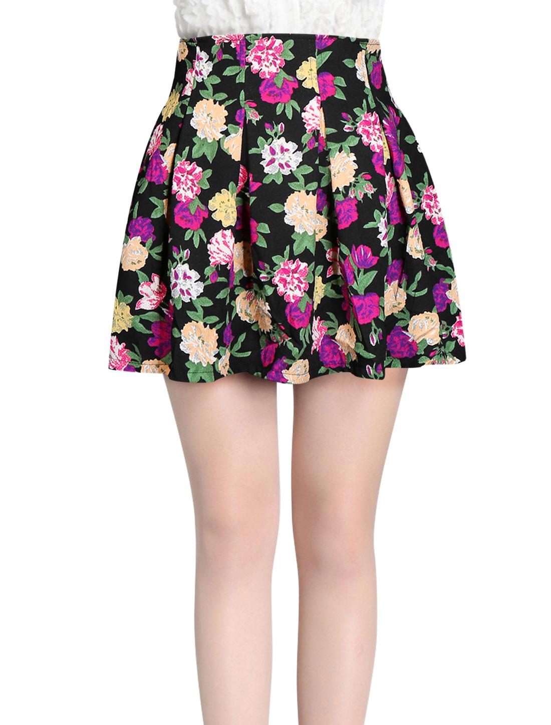 Ladies Fuchsia Hidden Zippered Back Casual Mini Skirt M