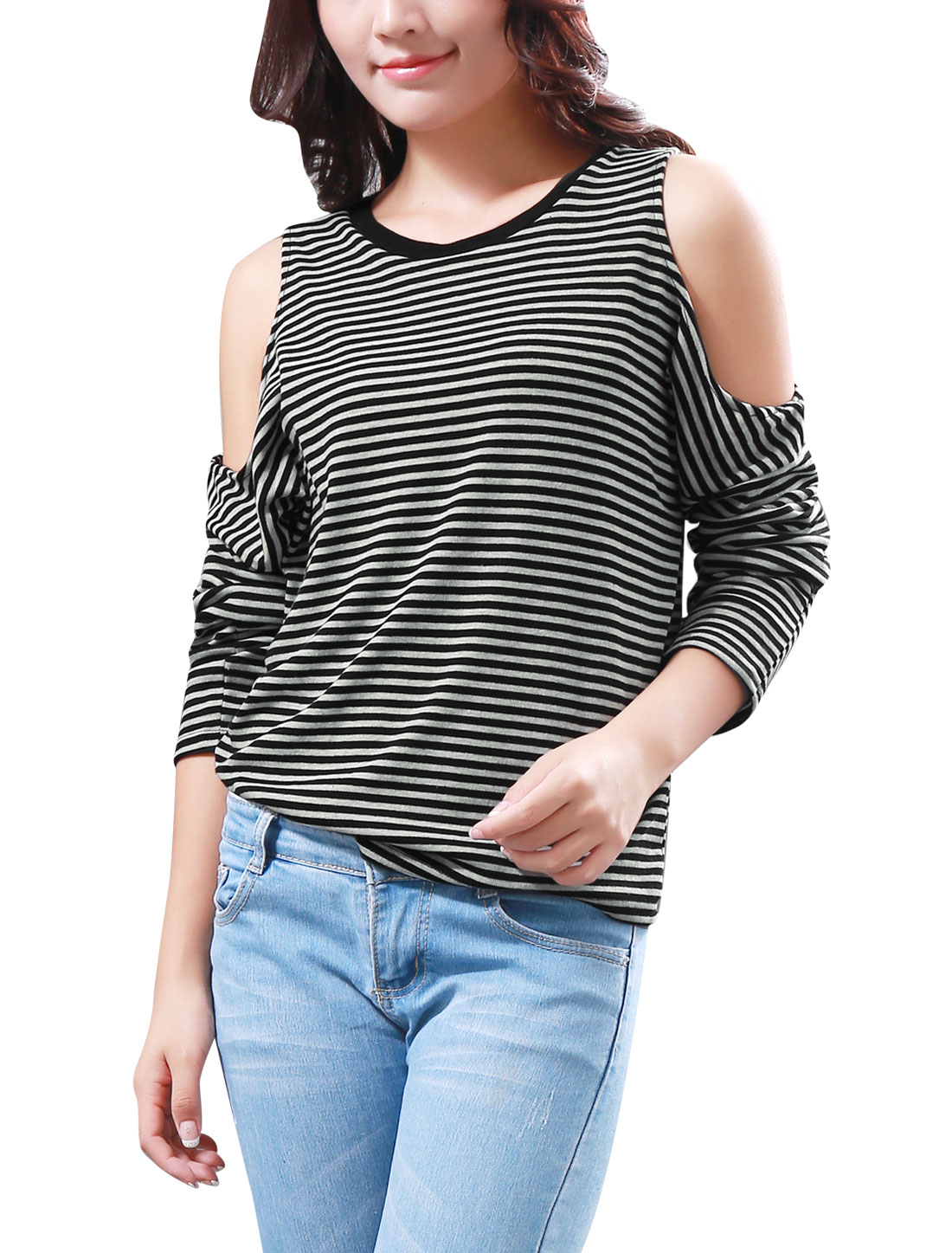 Women Long Dolman Sleeves Cut Out Shoulder Stripes Stylish Top Black White S