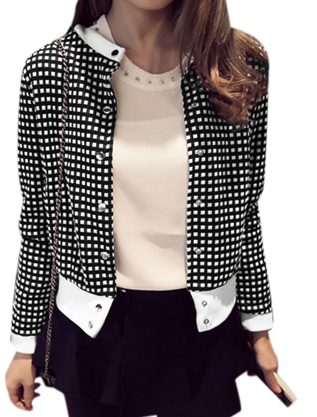 Lady Snap Button Closed Pockets Plaids Print Cropped Textured Jacket Black White XS