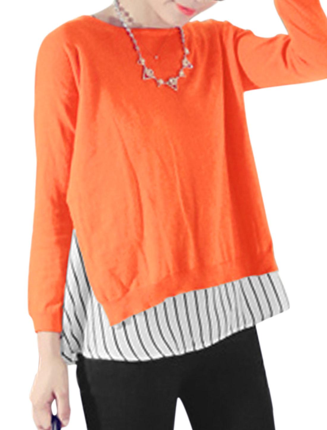 Lady Pullover Semi Sheer Knit Shirt w Stripes Tank Top Orange White XS