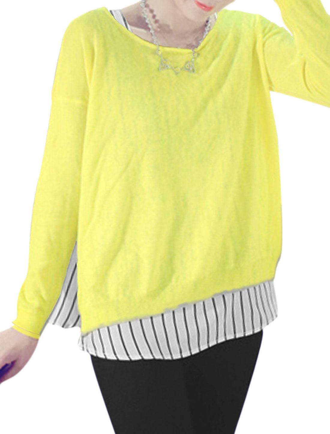 Women Vent Side Knit Shirt w Bar Striped Tank Top Yellow White XS