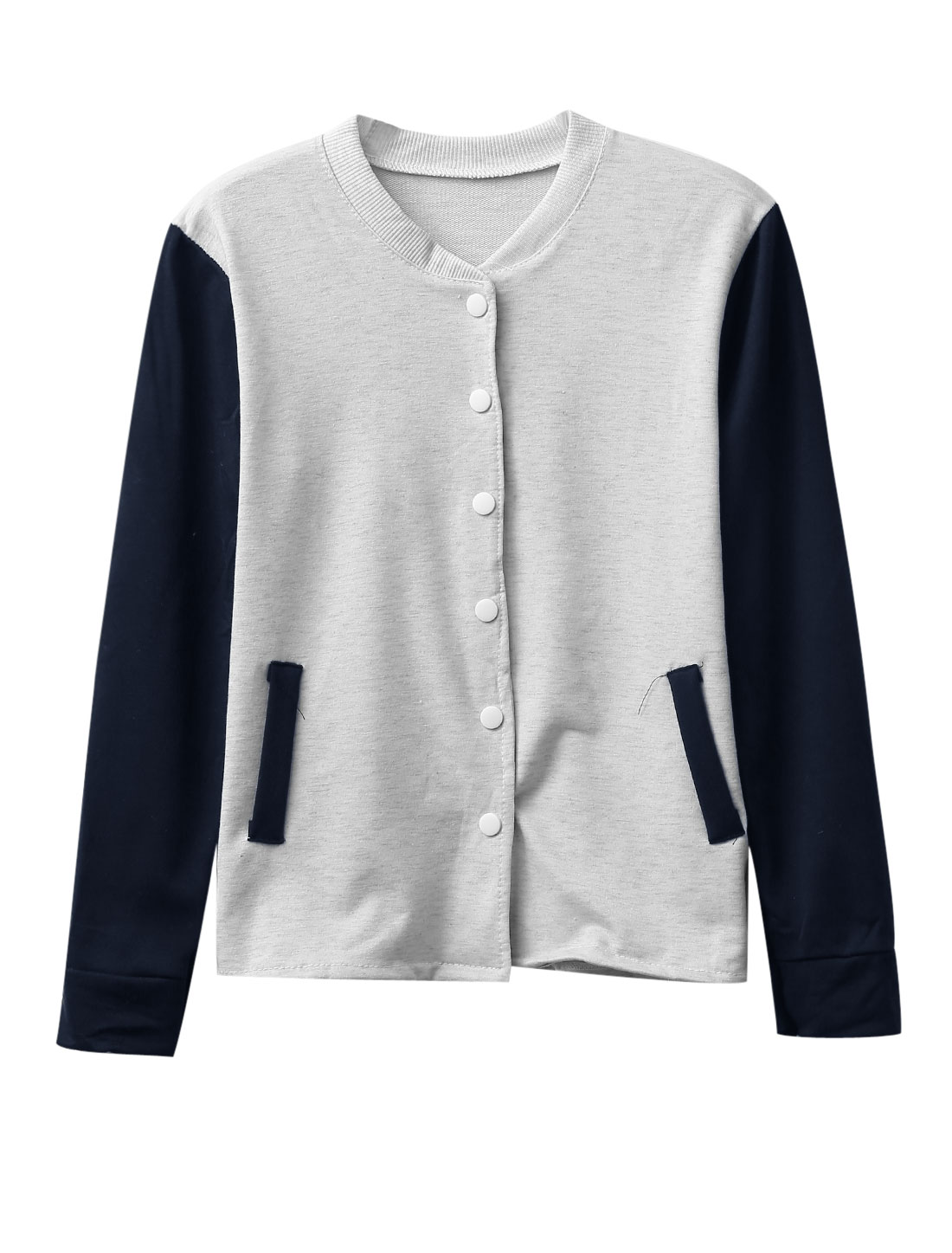 Lady Stand Collar Single Breasted Casual Baseball Jacket Light Gray Navy Blue XS