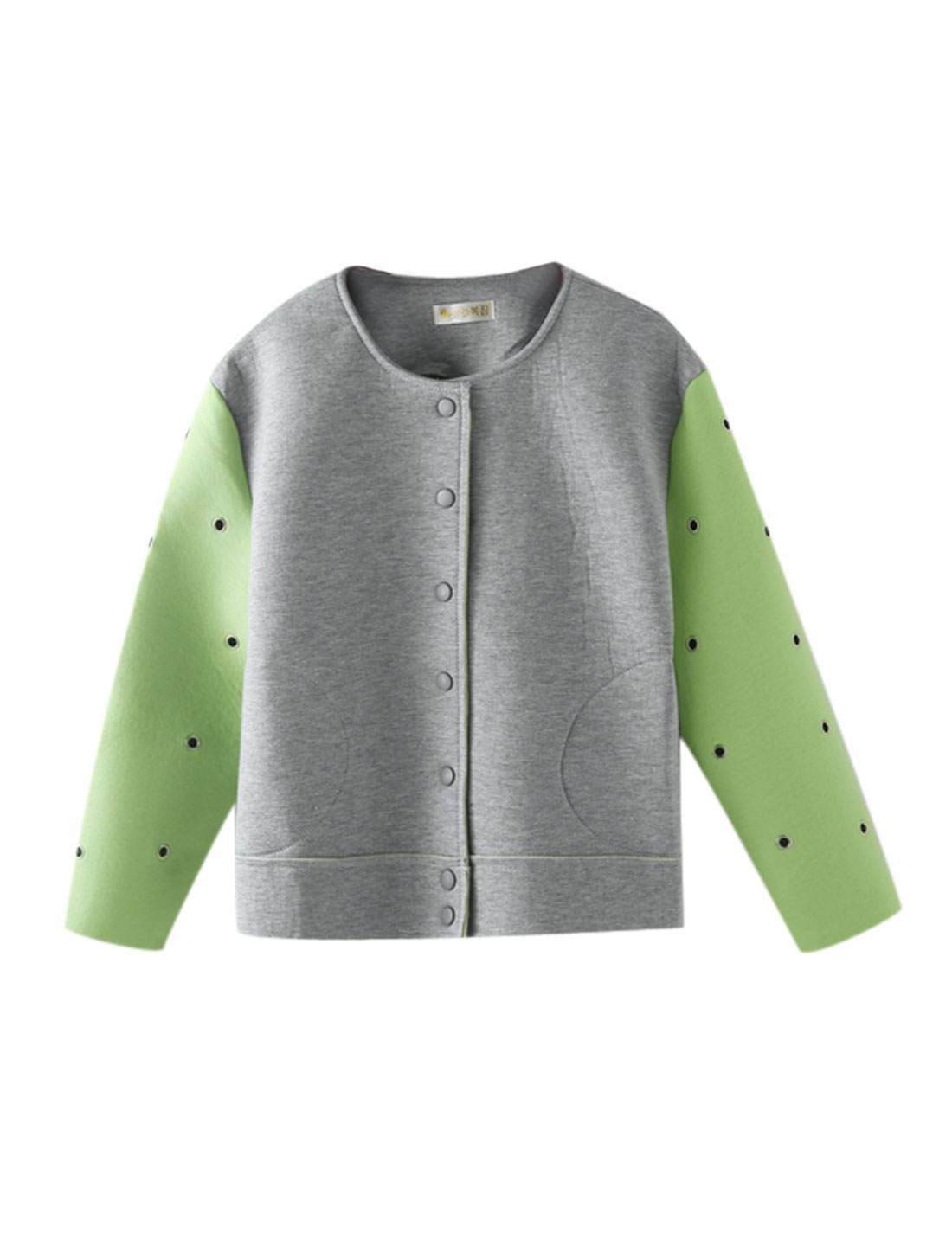 Women Single Breasted Metal Eyelets Design Jacket Light Green Light Gray M