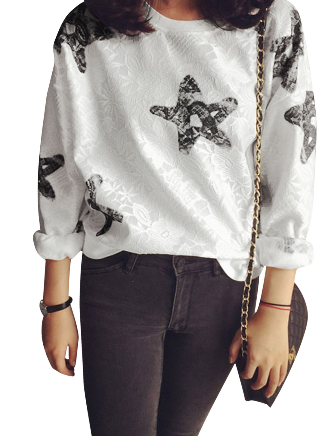Women Stars Pattern Flower Design Ribbed Hem Casual Sweatshirt White XS