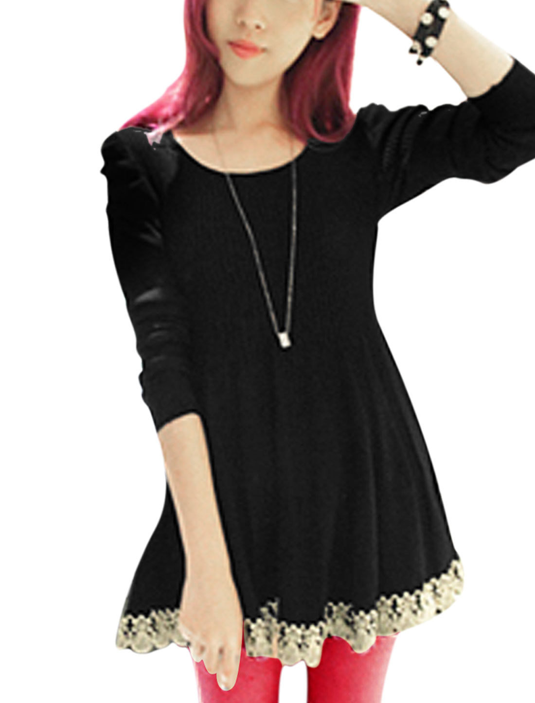 Lady Round Neck Long Sleeve Embroidery Panel Hem Tunic Top Black XS