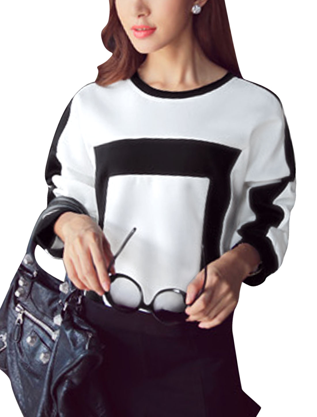 Lady Round Neck Contrast Color Pullover Leisure T-Shirt White XS