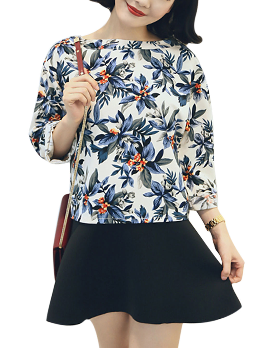 Lady Round Neck Floral Pattern Fashion Loose Fit Top Blue XS