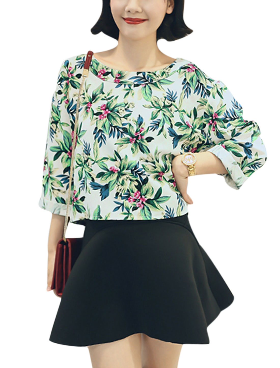 New Style Floral Pattern Stylish Casual Top for Lady Green XS