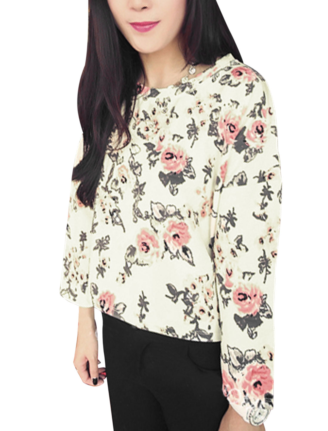 Lady Round Neck Floral Pattern Loose Fit Casual Blouse Beige XS